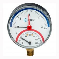 Термоманометр радиальный D80/4бар/120C 1/2